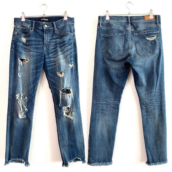Express Distressed Mid Rise Skinny Jeans Sz 6
